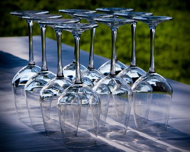 upside-down wine glasses on a table